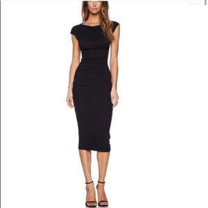 James Peres Sheath Tucked Midi Dress Heather Gray